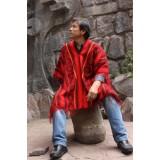 Authentique poncho péruvien - couleur rouge indien