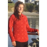 Pull dessins Croix andine rouge