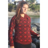 Pull dessins Croix andine rouge indien