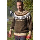 Pull épais marron en laine vierge