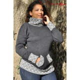 Pull col montant gris anthracite