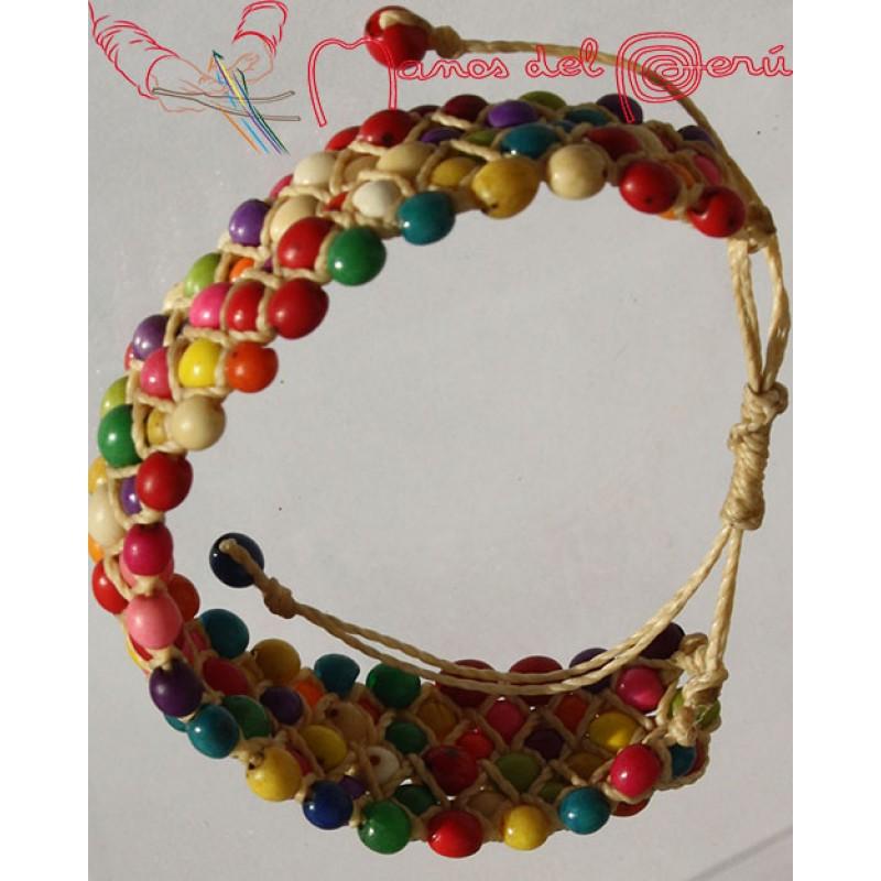 Bracelets macram et perles arc en ciel - Bracelet arc en ciel ...